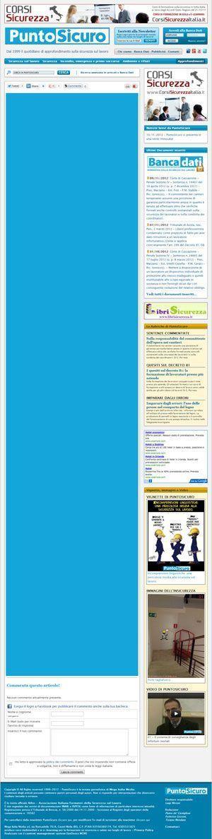 Esempio di spazio utile per un Pubbliredazionale su PuntoSicuro